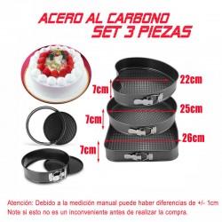 Moldes para Tartas Bizcocho 3x Molde Desmontable Antiadherente Pasteles Bandeja Hornear