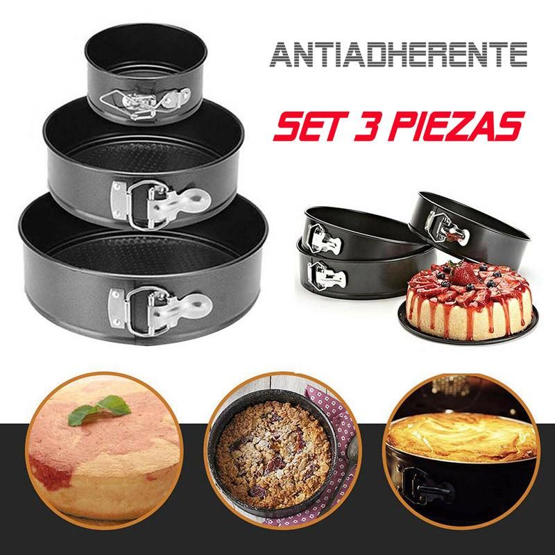 Moldes para Tartas Bizcocho 3x Molde Redondo Desmontable Antiadherente Pasteles Bandeja Hornear