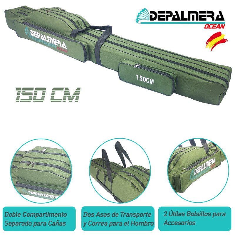 DEPALMERA® Funda Bolso para Caña de Pescar 150cm Color Verde
