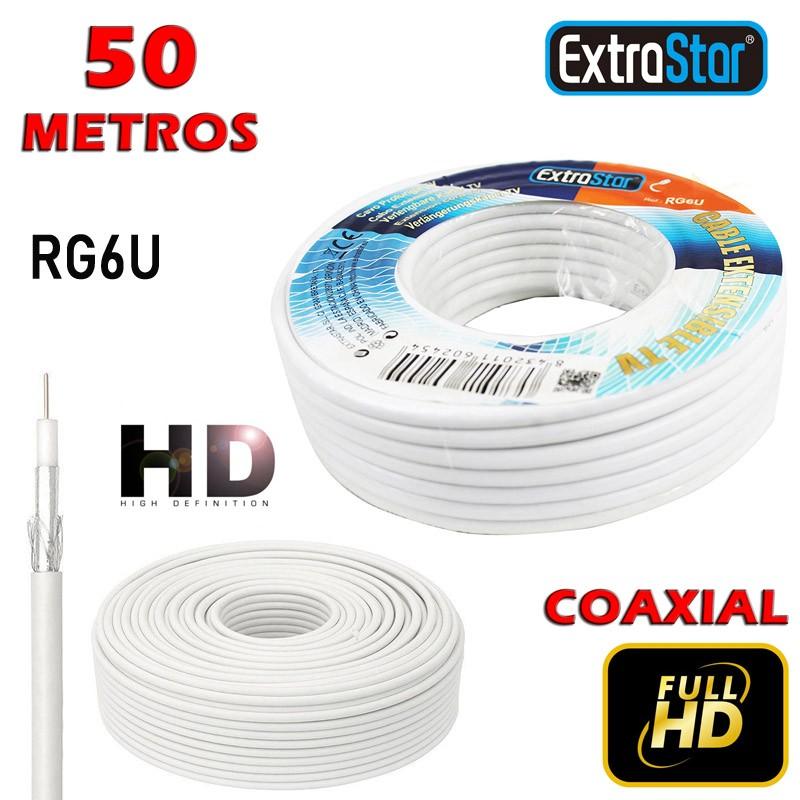 Cable de Antena 50m RG6U
