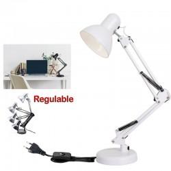 Flexo Lámpara de Escritorio Arquitecto 40W E27 Color blanco Para LED Halógena o Incandescente